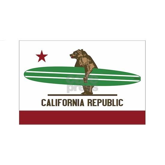 California Surfing Bear Longboard Flag
