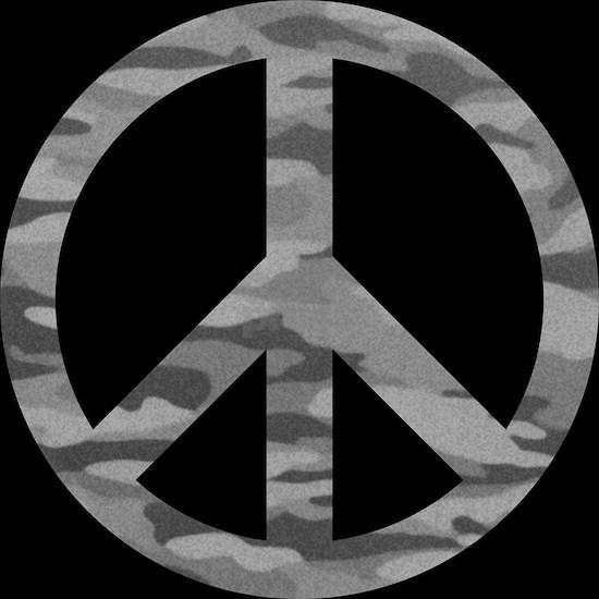 Grey Camo Peace Logo