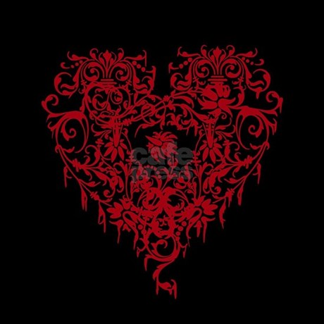 Ornate Red Gothic Heart Shower Curtain Favorite