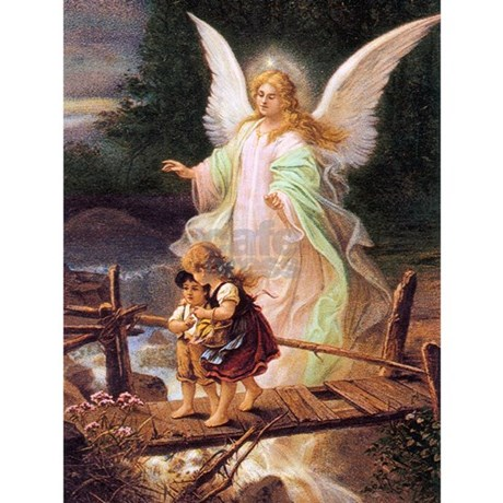 Guardian Angel With Children On Bridge Postcards By